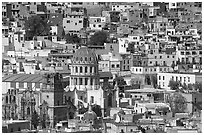 City center from above  with dome of Templo de la Compania de Jesus. Guanajuato, Mexico (black and white)