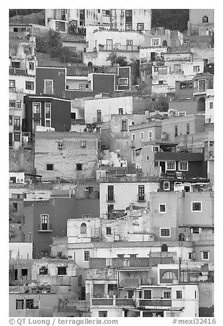 Vividly colored houses on steep hill. Guanajuato, Mexico (black and white)