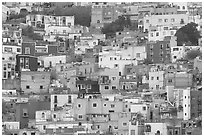 Steep hill with multicolored houses. Guanajuato, Mexico (black and white)