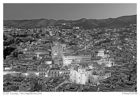 Panoramic view of the historic town with illuminated monuments. Guanajuato, Mexico (black and white)