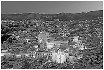 Panoramic view of the historic town with illuminated monuments. Guanajuato, Mexico ( black and white)