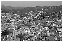 Panoramic view of the historic town and surrounding hills at dawn. Guanajuato, Mexico ( black and white)