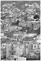 Church San Roque, and houses at dawn. Guanajuato, Mexico ( black and white)