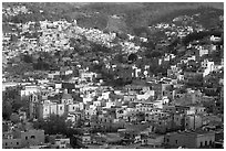 Church San Roque, and hills, early morning. Guanajuato, Mexico ( black and white)
