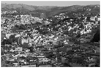 Panoramic view of the town, early morning. Guanajuato, Mexico ( black and white)