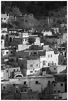 Vividly colored houses on hill, early morning. Guanajuato, Mexico (black and white)
