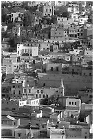 Houses built on steep hill,  early morning. Guanajuato, Mexico (black and white)