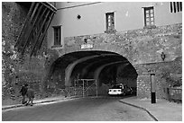 Entrance of one of the subterranean streets with a house built above. Guanajuato, Mexico ( black and white)