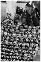 Woman selling Traditional puppets. Guanajuato, Mexico ( black and white)