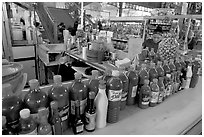Chili bottles at a booth in Mercado Hidalgo. Guanajuato, Mexico ( black and white)