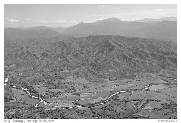 Aerial view of plain, foothills and Sierra de Madre. Mexico (black and white)