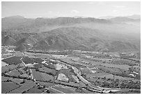 Aerial view plain and Sierra de Madre. Mexico (black and white)