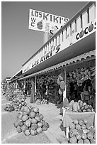 Row of tropical fruit stands. Mexico (black and white)