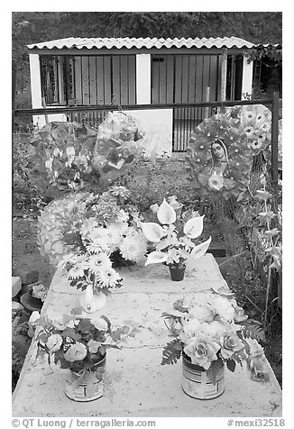 Multicolored flowers on a grave. Mexico (black and white)