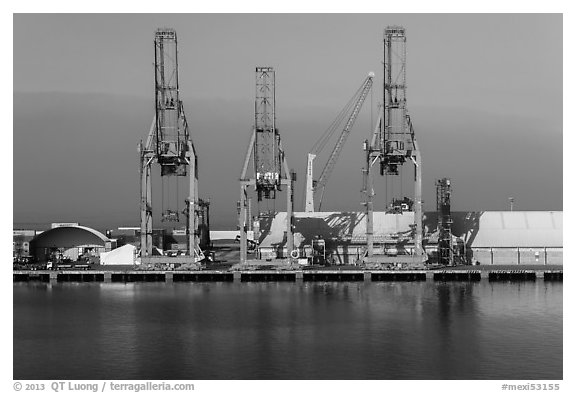 Cranes in port, Ensenada. Baja California, Mexico (black and white)