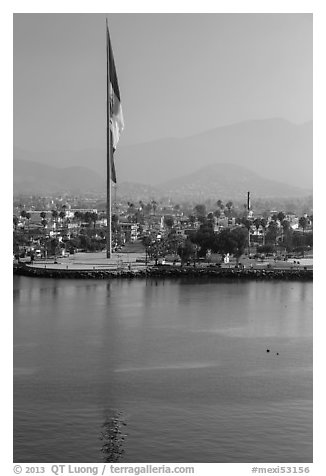 Largest Mexican flag sagging in early morning, Ensenada. Baja California, Mexico (black and white)