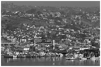 Harbor and hill, Ensenada. Baja California, Mexico (black and white)
