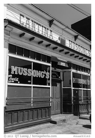 Cantina Hussong, oldest restaurant in the city, Ensenada. Baja California, Mexico (black and white)