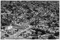 Houses on city outskirts, Ensenada. Baja California, Mexico (black and white)
