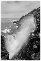 Tidal blowhole, La Bufadora. Baja California, Mexico ( black and white)
