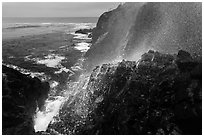 Cliffs and spray from blowhole, La Bufadora. Baja California, Mexico ( black and white)