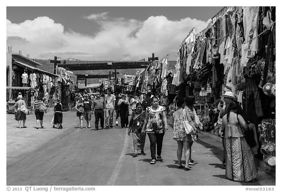 Outdoor market, La Bufadora. Baja California, Mexico (black and white)