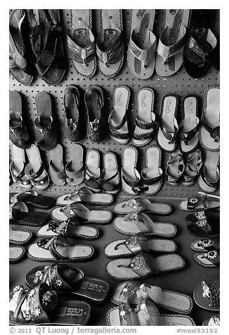 Sandals for sale. Baja California, Mexico (black and white)