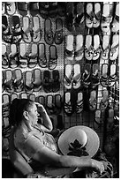 Sandals vendor. Baja California, Mexico (black and white)