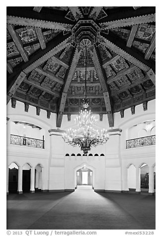 Carved beams and chandelier, casino room, Riviera Del Pacifico, Ensenada. Baja California, Mexico (black and white)