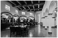 Room with original furniture and mosaics, Riviera Del Pacifico, Ensenada. Baja California, Mexico (black and white)