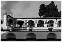 Courtyard arches, Riviera Del Pacifico, Ensenada. Baja California, Mexico (black and white)