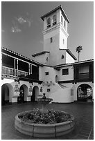 Courtyard, fountain and tower, Riviera Del Pacifico, Ensenada. Baja California, Mexico (black and white)