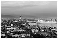 Ensenada harbor, and cruise ship at sunset. Baja California, Mexico (black and white)