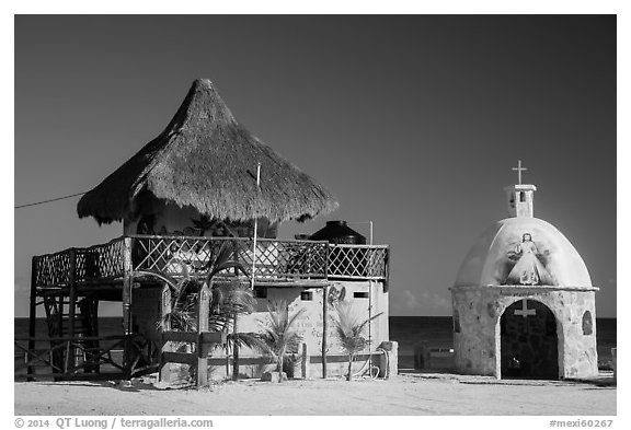 Bar and Chan Santa Cruz Monument, Punta Sur. Cozumel Island, Mexico (black and white)