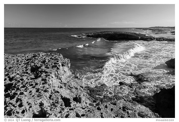Surf and rock with holes. Cozumel Island, Mexico (black and white)