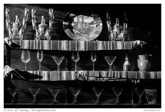 Glasses, tequilla factory. Cozumel Island, Mexico (black and white)