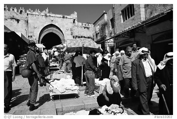 Street market inside the old town next to the Damascus Gate. Jerusalem, Israel (black and white)