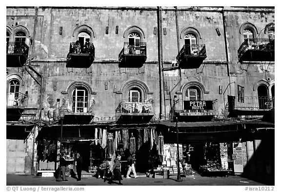Facade of old townhouse. Jerusalem, Israel (black and white)