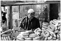 Arab bread vendor. Jerusalem, Israel (black and white)