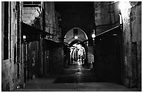 Old street and arches by night. Jerusalem, Israel (black and white)