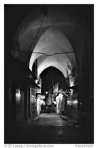Alley at night, old town. Jerusalem, Israel (black and white)