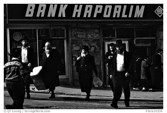Jews in the ultra-orthodox Mea Shearim district. Jerusalem, Israel (black and white)