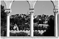 Spires and Mount of Olives seen through arches. Jerusalem, Israel (black and white)