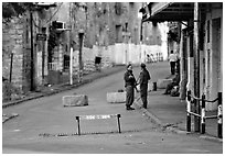 Checkpoint, Hebron. West Bank, Occupied Territories (Israel) ( black and white)