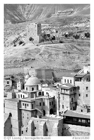 Mar Saba Monastery in the Judean Desert. West Bank, Occupied Territories (Israel) (black and white)