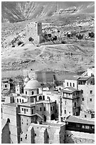 Mar Saba Monastery in the Judean Desert. West Bank, Occupied Territories (Israel) ( black and white)