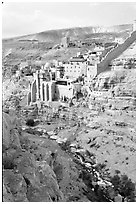 Mar Saba Monastery and steep Kidron River gorge. West Bank, Occupied Territories (Israel) ( black and white)