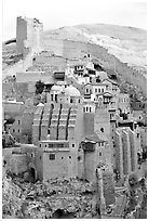 Fortified walls of the Mar Saba Monastery. West Bank, Occupied Territories (Israel) ( black and white)
