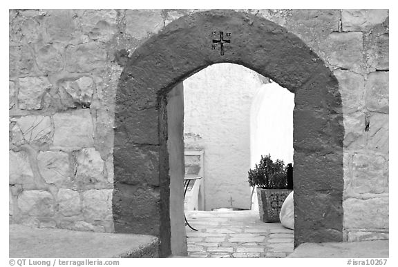 Blue doorway inside the Mar Saba Monastery. West Bank, Occupied Territories (Israel) (black and white)