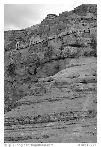 Monastery perched on the side of a steep clif. West Bank, Occupied Territories (Israel) (black and white)